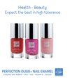 High tolerance nail enamel enriched with sulfur, zinc, iron, vitamin E and calcium to strengthen, stimulate, harden.